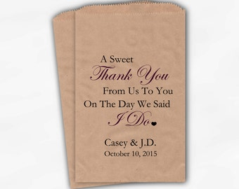 Sweet Thank You Wedding Candy Buffet Kraft Paper Treat Bags - Wine Personalized Favor Bags with Couple's Names and Wedding Date (0054-6)