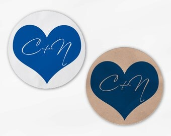 Initials in Heart Wedding Favor Stickers - Royal Blue Custom White Or Kraft Round Labels for Bag Seals, Envelopes, Mason Jars (2006)