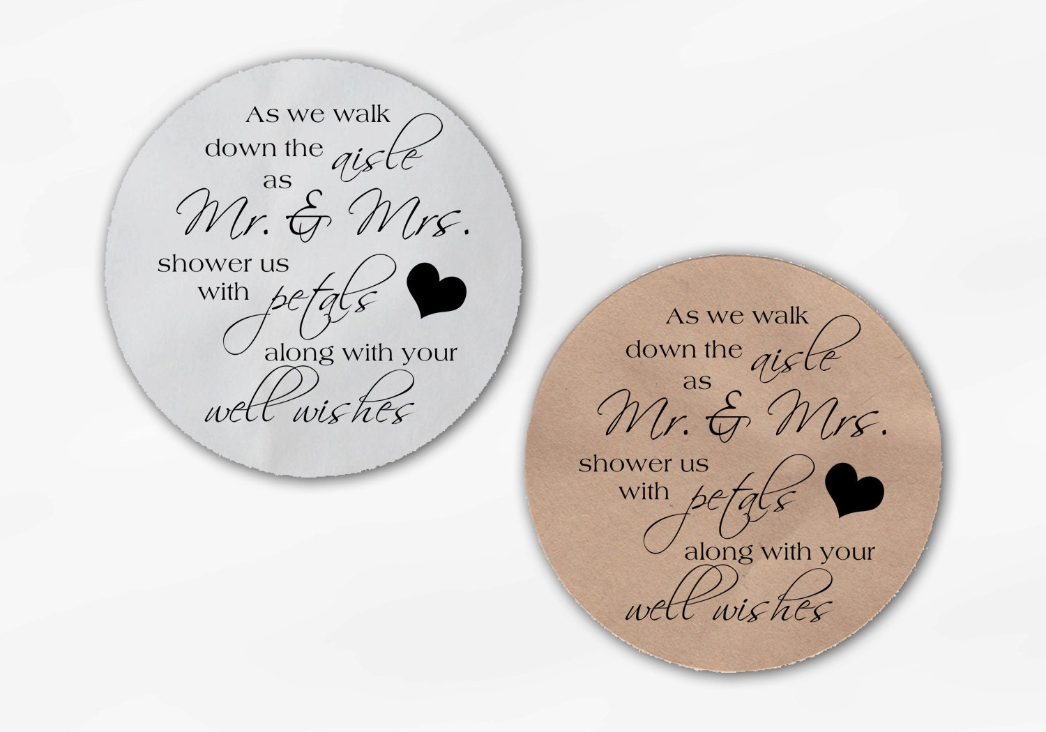 Shower the Mr and Mrs Wedding Favor Stickers Black and White