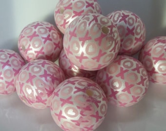 20mm, 10CT, X's and O's Print Gumball Beads, C53