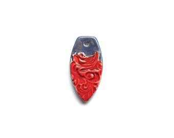 Red and Denim  Blue Handmade Ceramic Petal Pendant