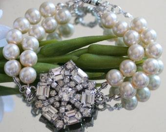 Wedding Bracelet, Made with Vintage Jewelry: Vintage Jewelry, Wedding Jewelry, Vintage Bracelet, Wedding Bracelet, Bridesmaids Dress
