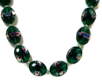 Glass Bead Necklace / Green Glass Bead Necklace / Big Glass Bead Necklace / Holiday Necklace / X mas Necklace / Bead Jewelry