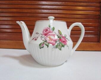 Vintage Porcelain Pink Flowers Teapot