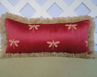 Silky Dragonfly Pillow in Coral Red and Beige / Coral Pillow / Accent Pillow / Decorative Pillow