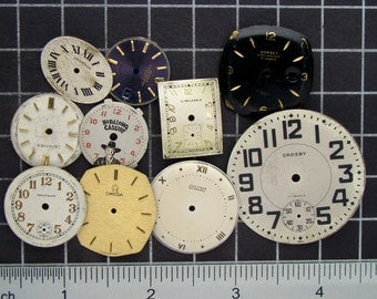 Mixed Lot of 10 Vintage round and Square Watch Faces, Dials, Clock Fronts, Painted or Enameled Pocket Watch Faces Steampunk Supplies 04167