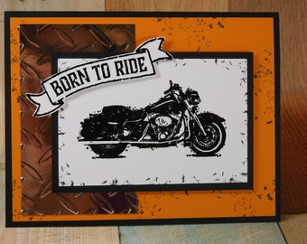 Handcrafted Masculine Motorcycle Harley Father's Day, Birthday, Love, Thinking of You Card