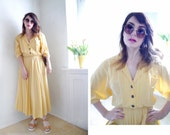 Vintage Dress Pale yellow Maxi Blouse dress Summer crinoline dress wrap 80s does 40s sun dress short sleeves full skirt / Size M-L