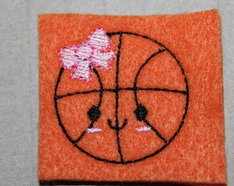 Girly basketball with bow feltie, basketball with pink bow and smiley face felt, 4 pcs for hair accessories, scrap booking or crafts