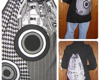 NEW drawstring Backpack Bike Bag handmade bohemian rucksack 2in1 Hipster Pocket mixed fabrics in Black Gray White with circles