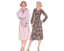 SALE 1970s Pullover Dress Pattern or Top with A Line Skirt Bust 34 Butterick 5972 Drawstring Ruffle Neckline Fast and Easy Vintage Pattern