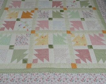 Hand Quilted 75x77 Pastel Quilt