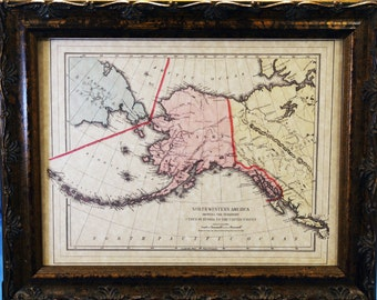 Alaska Territory Map Print of an 1890 Map on Parchment Paper