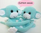 2 sky blue monkey curtain tie back (sapiravid)