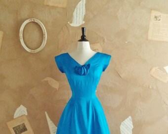 Vintage 1950s Sapphire Blue Satin Party Dress -Ice Palace-
