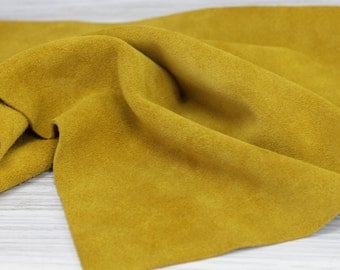 Yellow Mustard Suede  Leather Cowhide