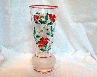 Czech Art Glass Vase / Czech Hand Painted Tall Vase