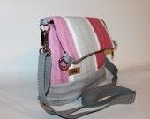 SALE 30 dollars Cross body bag,Fold over bag, 3 tone canvas tote,Everyday bag