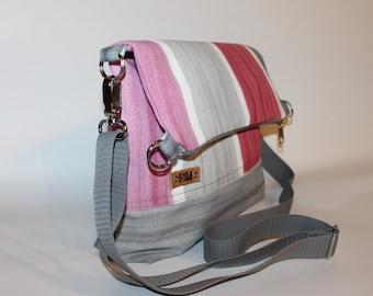 Cross body bag,Fold over bag, 3 tone canvas tote,Everyday bag