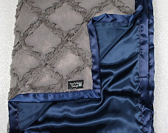 Baby Blanket, Blue Blanket, silky blanket, Baby boy, Adult Minky, oyster lattice, navy and grey blanket, dallas cowboys, yankees blanket