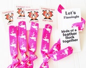 Flamingo Party Favor, Flamingo Hair Ties Birthday Party Bachelorette Bridal shower Baby shower Flamingle what the flock birds of a feather