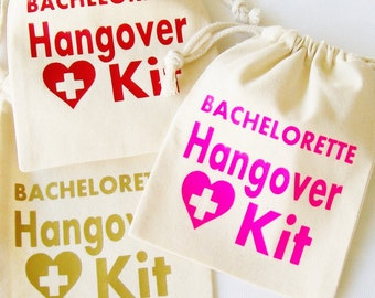 Bachelorette Hangover kit bag -- Custom party favor , recovery kit, first aid kit, custom tote bag, 21st Birthday, Wedding Survival, 40 50