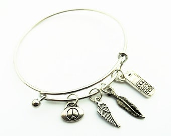 Cell Phone Charm Bangle, Cell Phone Silver Charm Cuff Bracelet Perfect For Women Teens and Girls!