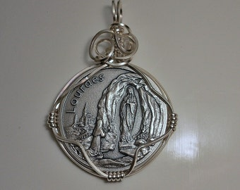 France Our Lady of Lourdes Medal Pendant