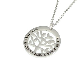 Custom Family Tree Personalised Hand Stamped Pendant - Stainless Steel Silver, Gold, Rose Gold