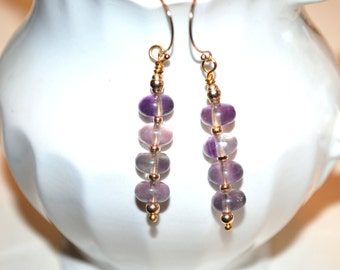 Flourite Gold Filled Earrings, Rainbow Flourite Earrings, Flourite Dangle Earrings, Flourite Drops, Flourite Pierced Earrings
