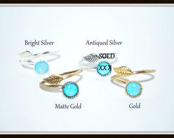 Blue Opal Ring, Blue Opal Adjustable Ring, Lab Opal Ring, Opal Leaf Ring, Adjustable Cabochon Ring, Blue Opal Cabochon Ring, Adjustable Ring