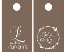 Corn Hole Board Decals   Wedding Decor Rustic   Personalized Wedding   Cornhole Decal