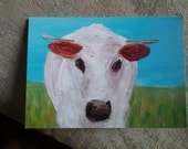 Handmade Greeting Card, 'Cow By the Sea'. Original Art