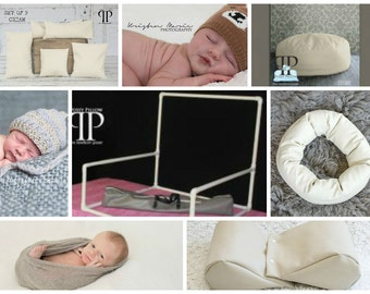 Starter set #19 ~ Travel size newborn poser, Squishy poser, set of 5 positioners, Doughnut poser and Travel size PVC Backdrop stand