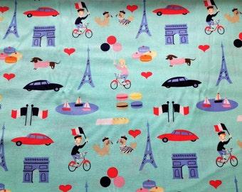 Paris Motifs Cotton Fabric Mint Dear Stella Dogs France French Lessons Fat Quarter/Metre FREE UK POSTAGE