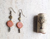 Earrings #peaches# in old pink with squares in copper, a small replica of a precolumbian finding in copper, unique piece, one of a kind