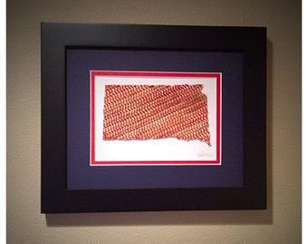 Baseball Seams State Art - South Dakota, Framed to 8x10 - the Perfect Christmas Gift!