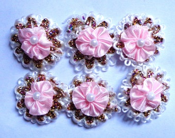 Satin Pink Pleated Pearl Bead Ribbon Bow set of 6