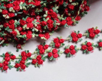 red green 5/8 inch wide  Rosebud embroidered trim price for 1 yard
