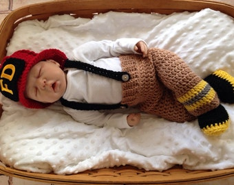 Baby Firefighter Fireman Red Hat Crochet Outfit 4 pc Turn Out Gear w/Susp & Boots, Newborn, 0-3, Photo Prop - MADE TO ORDER