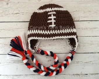 NFL Denver Broncos Football Hat, Newborn, 0-3, 3-6,  Baby Shower Gift, Photography Prop - Made To Order