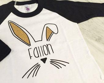 cute kids easter shirt, gold glitter bunny ears