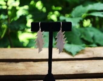 Sterling Silver 13 Point Lightning Bolt Earrings