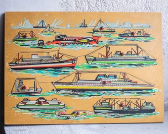 Vintage Wood Boat Puzzle // 1960 Wooden Children Toy
