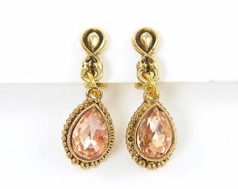 Rhinestone Clip on Earrings - Pink Antique Gold Teardrop Dangle Clip Earrings |EC1-38