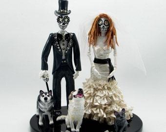 Custom handmade Love never die cake topper Skeleton bride and groom