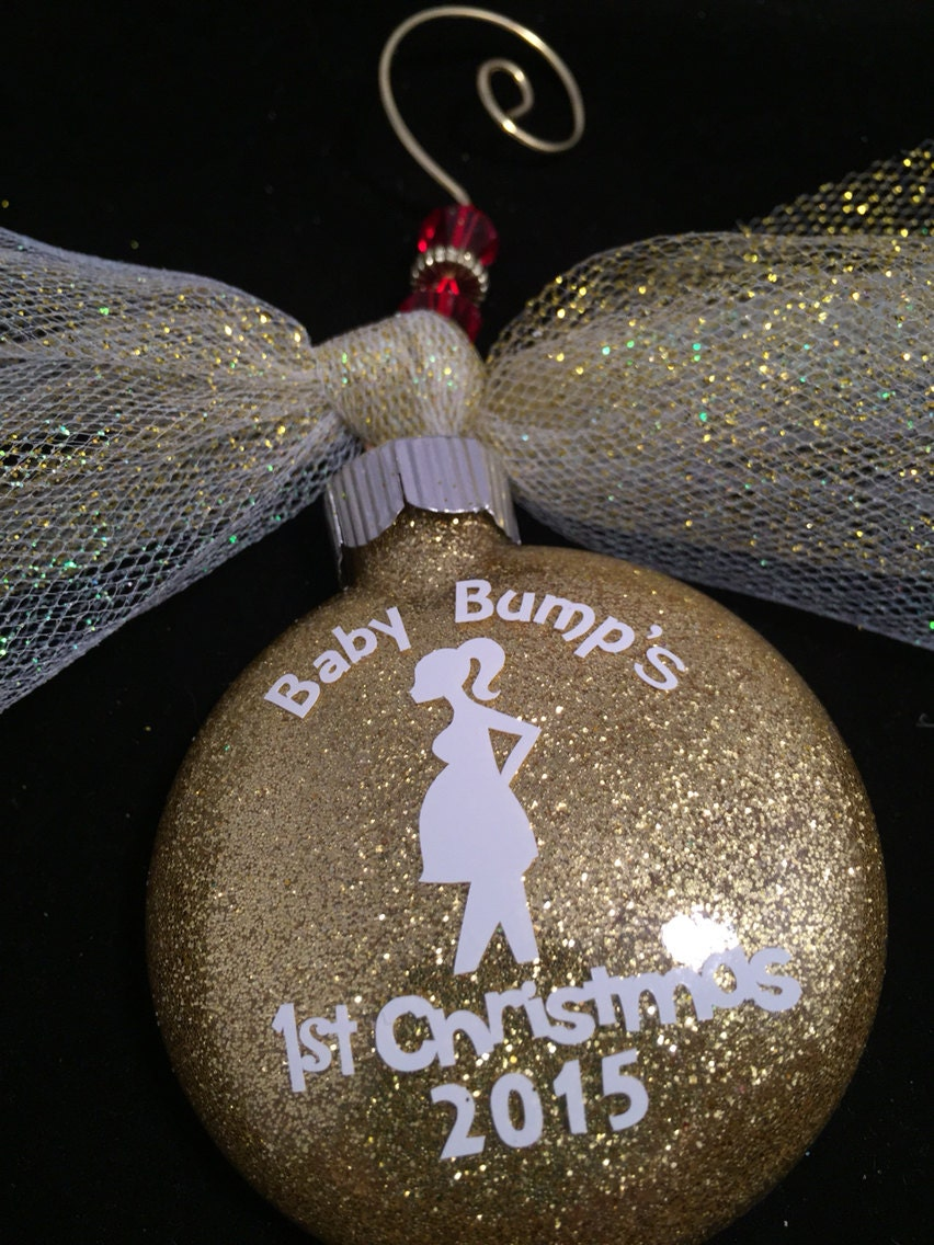 2016 Gold Pregnant Christmas Ornament Baby Bump Ornament