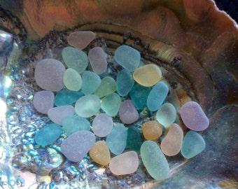 30  Medium & Small Pastel genuine sea glass Pink Aqua PB-A22-32-L