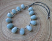 Amazonite necklace with large briolettes and sparkly grey silver seed beads 19""