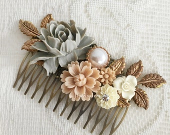 Vintage Wedding Hair Comb Romantic Bridal Hair Slide Bohemian Hair Adornment Spring Wedding Headpiece Large Rose Big Bridal Comb